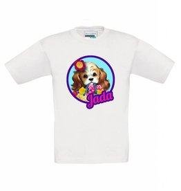 T-shirt puppy met gehaakt bloemetje en naam