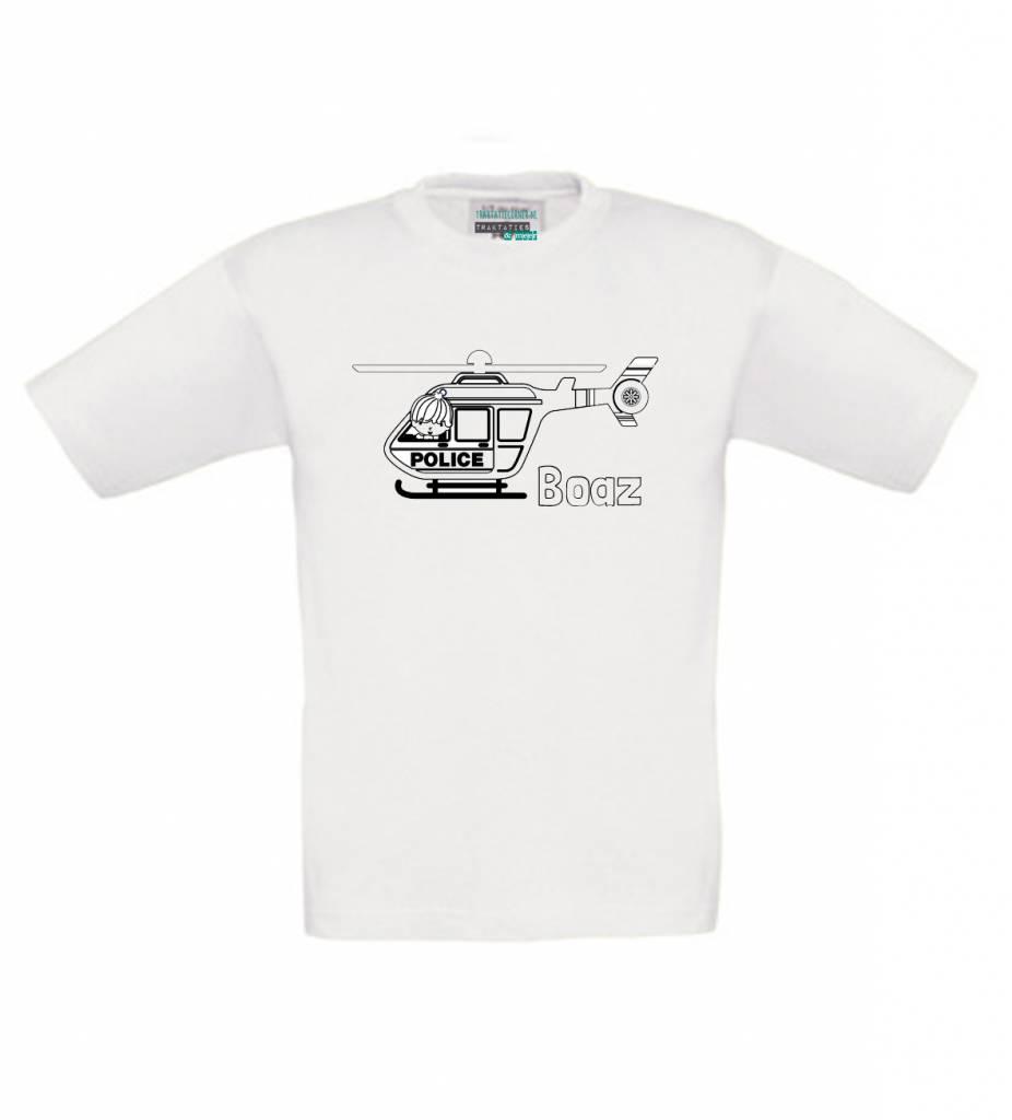 Kleur je eigen t-shirt met naam - politie helikopter