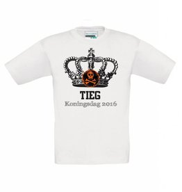T-shirt Koningsdag kroon met doodshoofd met naam
