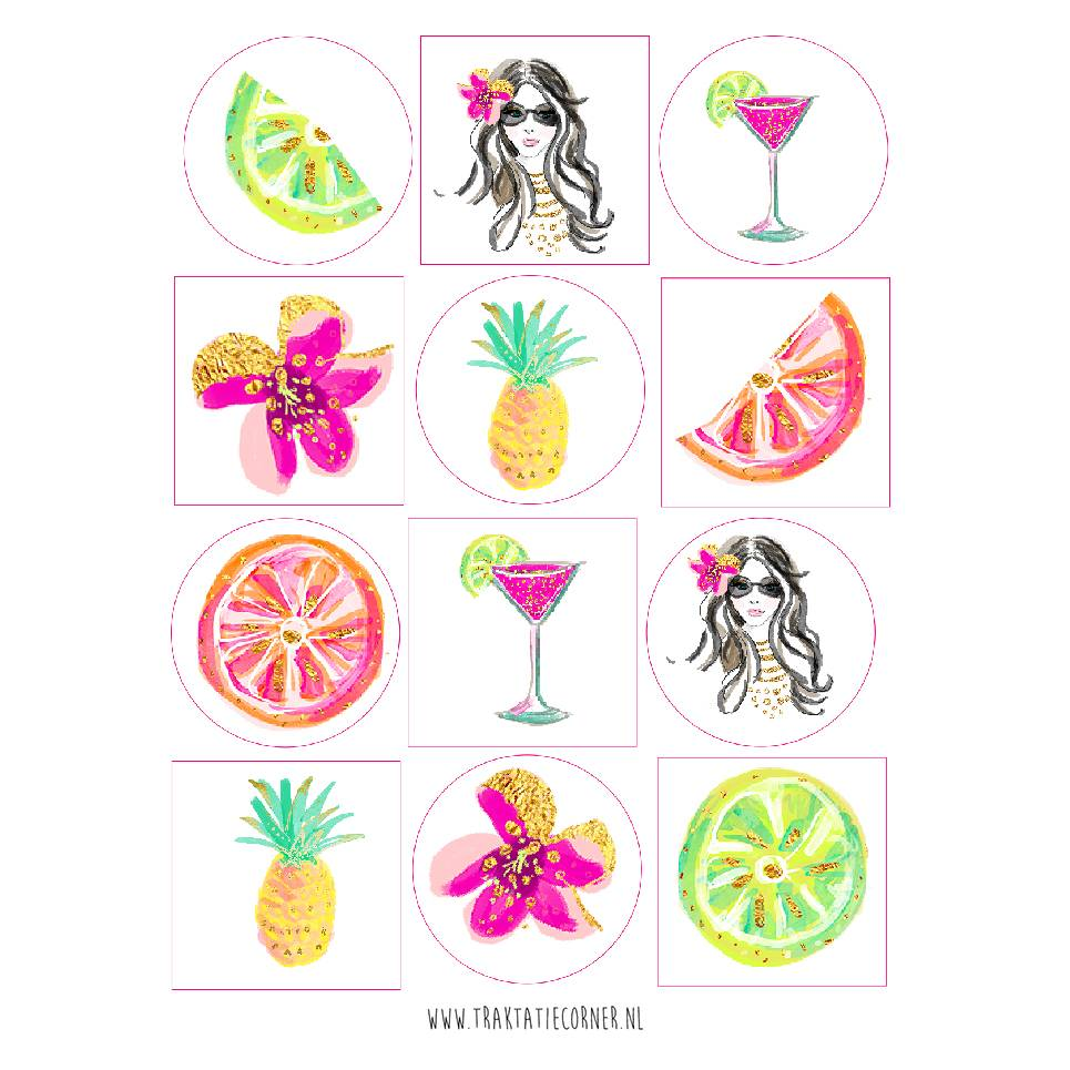 Stickers tropical - 12 set