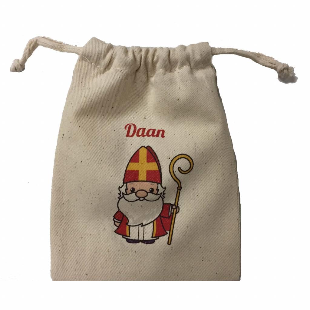 Zakje katoen Sinterklaas met naam