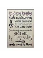 Bedrukt hout - quote in ozze keuke