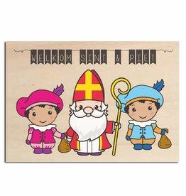 Bedrukt hout - Welkom Sint & Piet