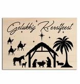Bedrukt hout - Kerstgroep - Gelukkig Kerstfeest