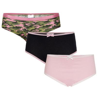 UnderWunder Meisjes Slip, camou/blauw/roze (setprijs)