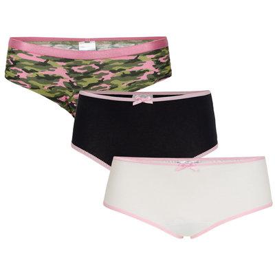 UnderWunder Meisjes Slip, camou/wit/roze (setprijs)
