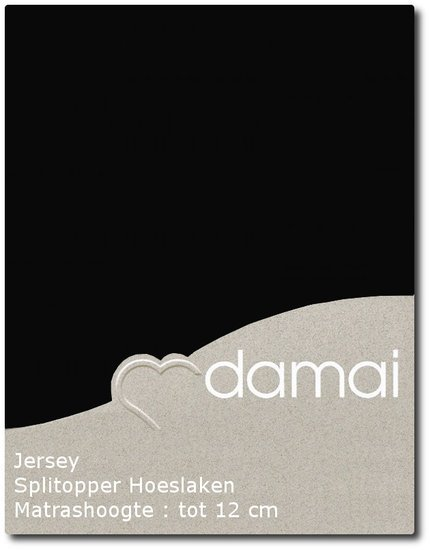 Hoeslaken double jersey splittopper 160 x 200-210cm black (tot 12 cm) Damai