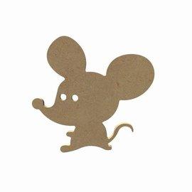 Gomille MDF figuur - Grappige muis (15 cm)