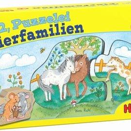 Haba Haba 303308 1, 2, puzzel mee - Dierenfamilies