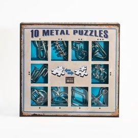 Breinpuzzel set metaal (10 puzzels. blauw)