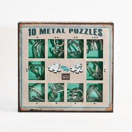 Breinpuzzel set metaal (10 puzzels. groen)