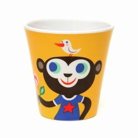 Petit Monkey Petit Monkey Plastic beker Aap geel