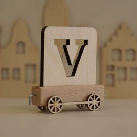 Houtlokaal Houten Lettertrein Letter V