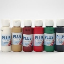 Plus color acrylverf. 6x60 ml div. kleuren