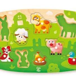 Hape Hape houten noppenpuzzel boerderij dieren