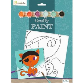 Mandarine Mandarine Graffy paint - Piraat kat (20x20 cm)