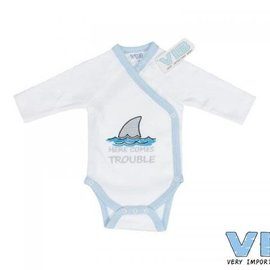 Very Important Baby Very Important Baby - Romper Here comes trouble (wit/blauw)