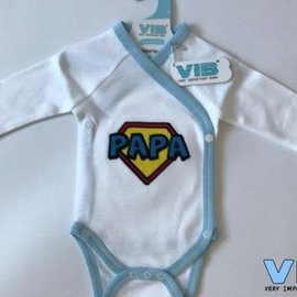 Very Important Baby Very Important Baby - Romper Papa superpapa logo (wit/lichtblauw)