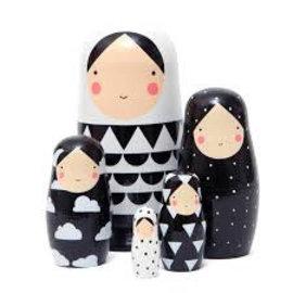 Petit Monkey Petit Monkey Matroschka Nesting Dolls black and white