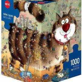 Heye Heye puzzel Cat's Life (1000 stukjes) 3 hoekig met poster