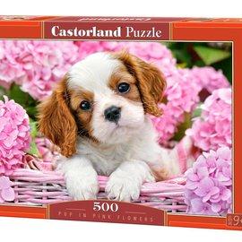 Castorland Castorland puzzel Pup in roze bloemen (500 stukjes)