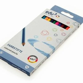 Edu3 Edu3 Kleurpotlood 3mm 3-hoekig (12 kleuren assorti)