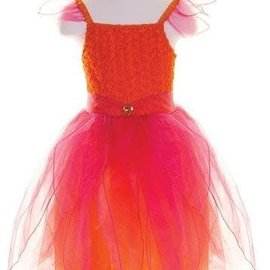 Great Pretenders Feeën jurk oranje/roze met haarband en staf maat M