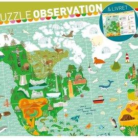 Djeco Djeco 7412 observatie puzzel rond de wereld 200 stukjes