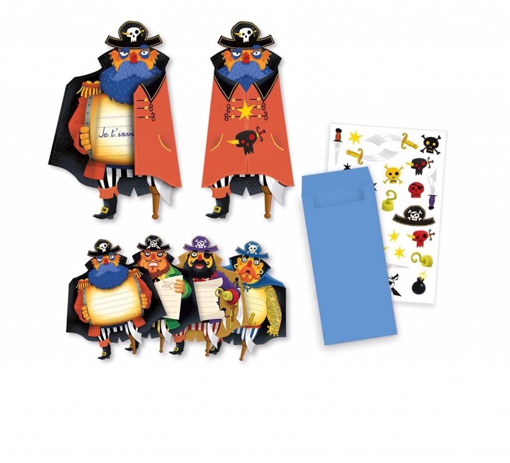 Djeco Djeco 4784 Verjaardag Uitnodigingskaarten Piraten