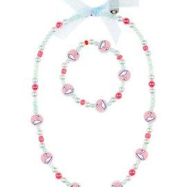 Phanine Ketting + armband set Zwanen, lichtblauw-roze