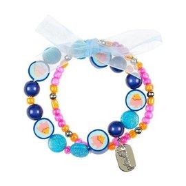 Souza Armband Malene visjes, blauw-geel