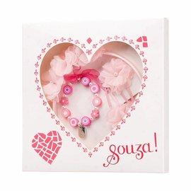 Phanine Cadeauset Hart roze-fuchsia (1 tiara + 2 haarclipjes + 1 armband, 1 doosje)