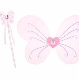 Rose en Romeo Caroli vleugels-toverstaf set, roze