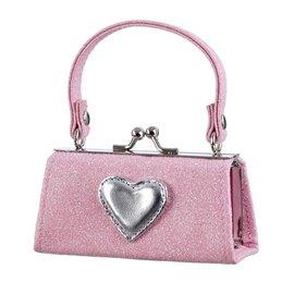 Phanine Portemonee Julide, lichtroze glitter tas model met zilver hartje