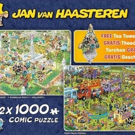 Jumbo Jan van Haasteren - BBQ feest  (2x 1000 stukjes) met gratis theedoek