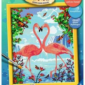 Ravensburger Schilderen op nummer - Flamingo liefde (24 x 30 cm)
