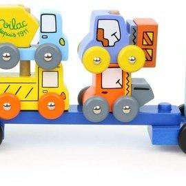 vilac Vilac - Vrachtwagen wegenwerkvoertuigen stapelspel