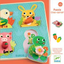 Djeco Djeco 1048 Puzzel met grote knoppen - Croc-carrot