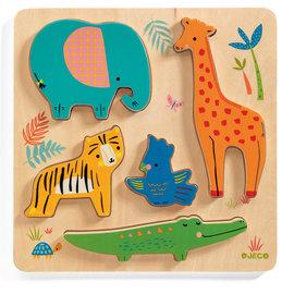 Djeco Djeco 1052 Relief puzzel - Jungledieren
