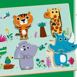 Djeco Djeco 1258 Reliëf puzzel - Jungle dieren