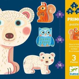 Djeco Djeco 7143 Eerste puzzel - In het bos (9-12-16 stukjes)
