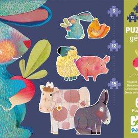 Djeco Djeco 7145 Reuzen puzzel - Boerderijdieren (9-12-15 stukjes)
