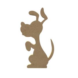 Gomille MDF figuur - Blij zittende hond (15 cm)