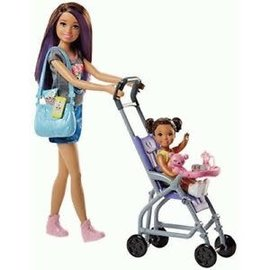 Barbie Barbie - Wandelwagen babysitter