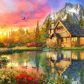 Bluebird puzzel The Mountain Cabin (1000 stukjes)