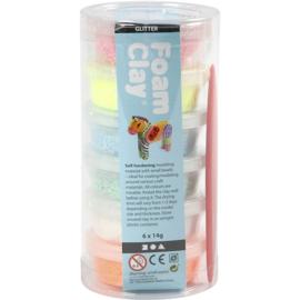 Foam Clay Foam klei Glitter: 6 x 14 gram (69772)