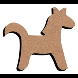 Hobbygroep MDF figuur - Grappig paard  (15 cm)