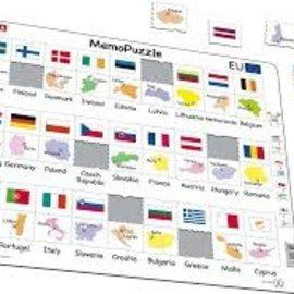 Larsen Larsen puzzel maxi meopuzzel namen vlaggen europa