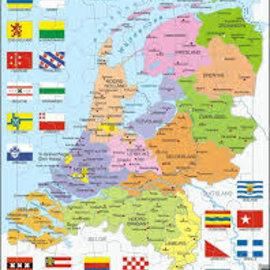 Larsen Puzzel maxi kaart Nederland met provinciale vlaggen