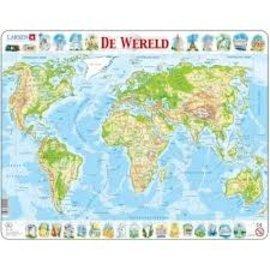 larsen Puzzel maxi kaart wereld geogafie